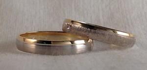 En este caso, el modelo elegido ha sido el 6484, en oro blanco diamantado ella y satinado la de él, las dos son de 3,5 mm de ancho, con un borde en amarillo pulido y además ella le ha puesto un diamante de 0,015 kt en caja cuadrada. Ella: mod 6484, 3,5 mm, blanco diamantado/amarillo pulido, confort 1,3 mm, diamante 0,015 kt; El: mod 6433, 3,5 mm, blanco satinado/amarillo pulido, plana 1mm