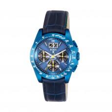 400350960 Reloj Drive Crono de acero IP azul y correa de piel azul 325€