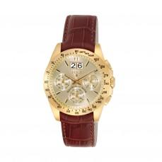 400350965 Reloj Drive Crono de acero IP dorado con correa de piel marrón 325€