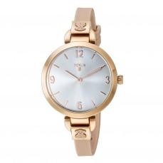 600350105 Reloj Bohème plateado de color nude Reloj Bohème de acero IP rosado con correa de silicona nude 159€